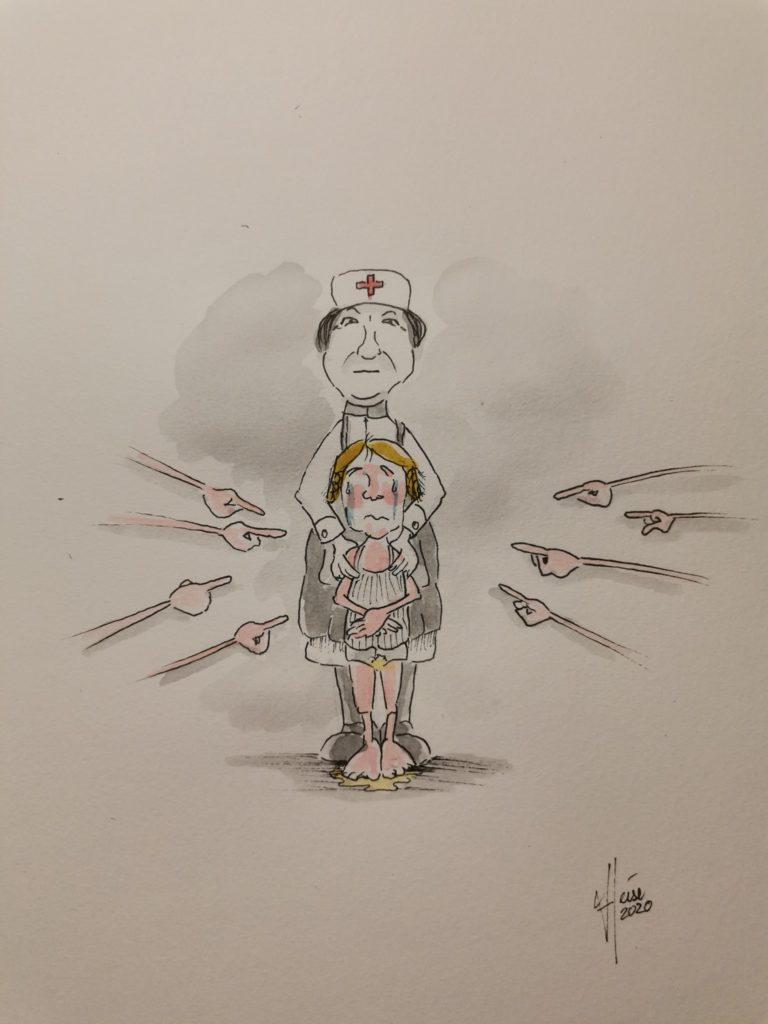 Ein weinendes Kind wird gedemütigt, weil es in die Hose gemacht hat. Viele Finger zeigen auf es und machen ihm Angst, während es von einer Krankenschwester festgehalten wird.