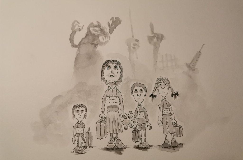 Ängstliche Kinder in bedrohlicher Reisesituation.  Schemenhafte Ungeheuer sehen furchterregend aus.